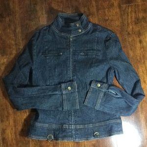 tothemax! Fitted dark denim jean jacket Sz M